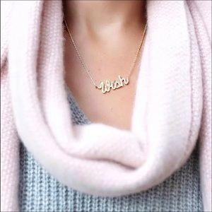 Henri Bendel Wish Script Pendant Necklace. New